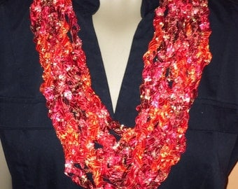 Scarves/necklace/crochet/women accessories/jewelry/loop scarf/circle scarf/cowl/red/gift for her/handmade/ribbon/spring