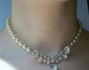 Laguna Rhinestone and Pearl Necklace in Original Box /  Vintage Wedding Detail