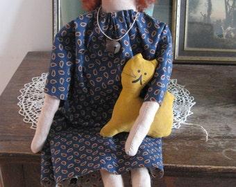 Primitive Folk Art, Primitive Folk Art Dolls, Primitive Folk Art Miss Rosie Doll, FAAP, OFG, HAFair