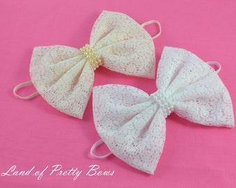 Big Lace Hair Bow  Ivory Lace Hair Bow White Hair Bow Skinny elastic Headband Girl Hair Bow Fabric Hair Bow