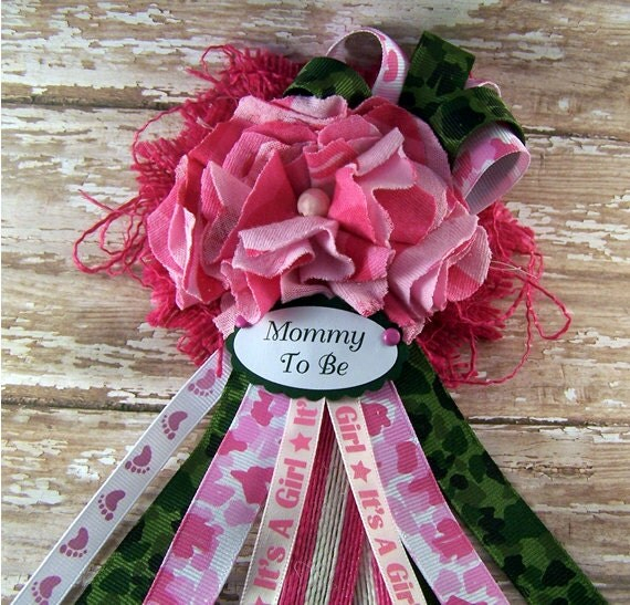 pink camo mommy to be corsage baby shower corsage camo theme baby