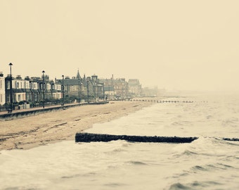 Portobello, original fine art photography, print, sea, urban landscape, nature, scotland, beach, storm, water, house, wet, rain, vintage