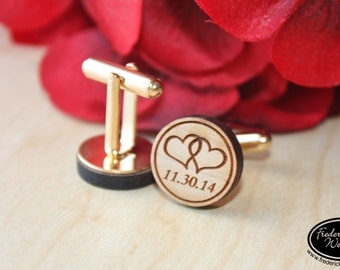 Custom Wood Cuff Links - Personalized Cuff Links with your Date - Anniversary Gift, Groomsman Gift, Best Man Gift