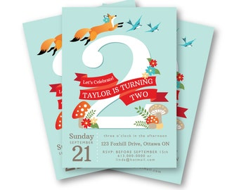 Fox Birthday Invitation, Woodland Birthday Party, Customized Printable DIY, Jumping Fox