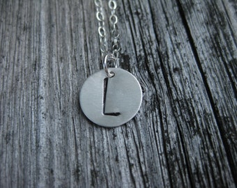 Initial Necklace Personalized Jewelry Hand Stamped Sterling Silver Matte Finish Letter Necklace Monogram Necklace Bridesmaid Gift