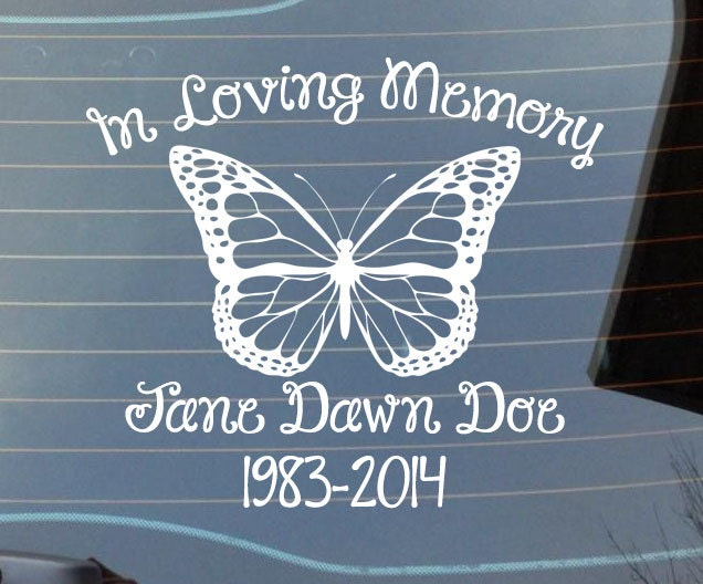 In Loving Memory Car Decals >> In Loving Memory Car Window Decal With A Butterfly Car