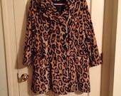 Leopard Print Fur Trench Coat