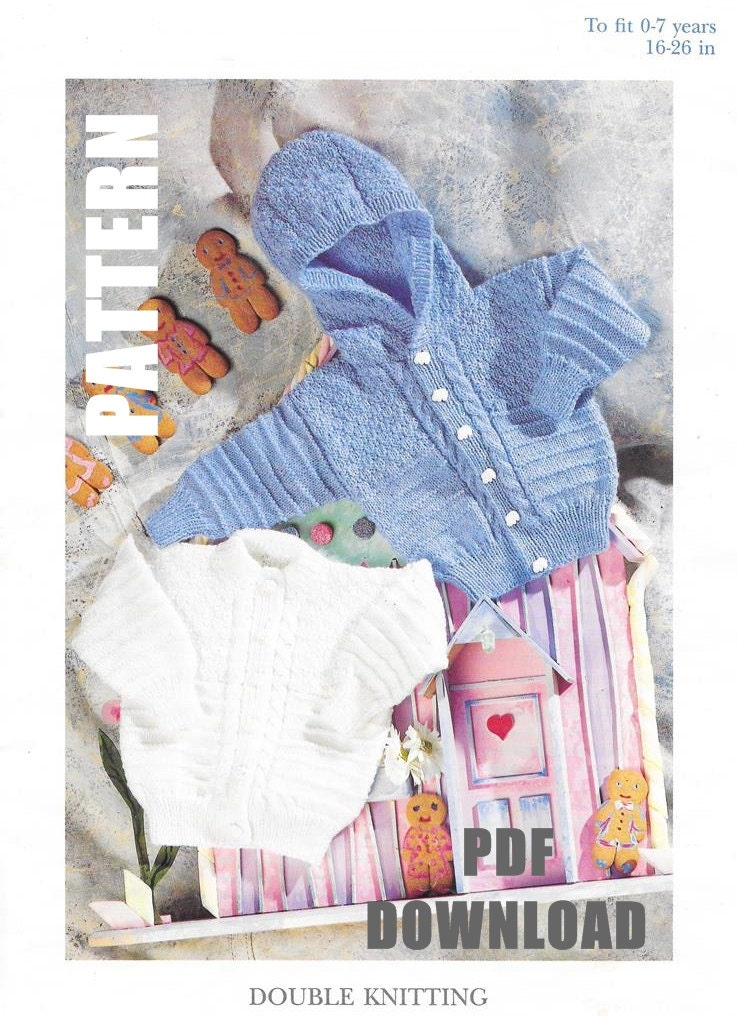 Knitting Pattern Child s Hooded Jacket : Baby Hoodie Pattern Knitted Cardigan Hooded Jacket Childs