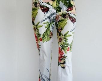 SALE Aloe vera pants Floral trousers / print 7/8 floral pants