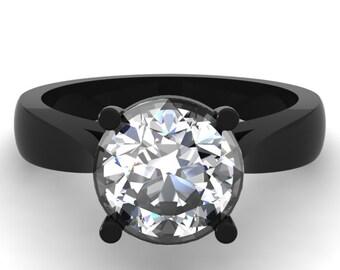 14k Black Gold Ring,White Sapphire Ring,Custom Ring,Custom Gold Ring,Solitaire,Handmade