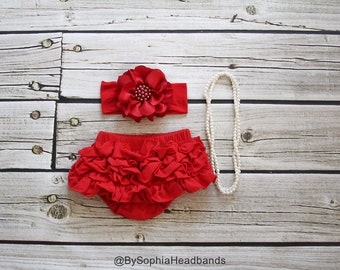 Red Ruffle Back Bloomers and Headband, Baby Flower Headband, Red Baby Bloomers, Christmas Headband, Red Headband, Cotton Baby Bloomers, 2222