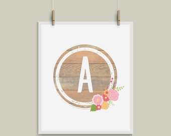 Shabby Chic Letter A Initial Monogram Alphabet Nursery Art Great for Weddings and Gallery Walls