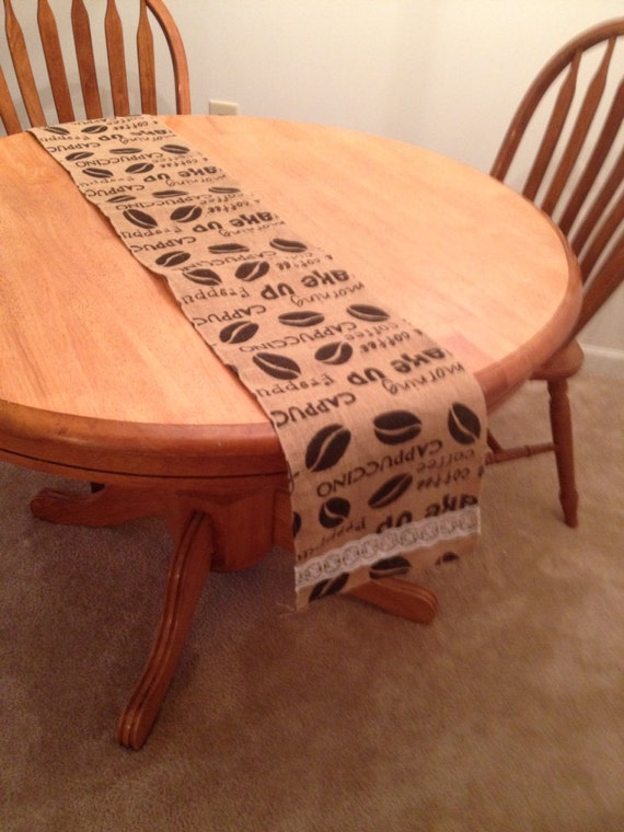 Coffee Themed Burlap Table Runner By Bowsanburlapdesigns On Etsy