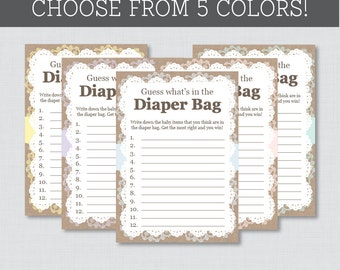 Burlap and Lace Baby Shower Diaper Bag Game - Guess What's in the Diaper Bag Game - Printable Instant Download - Burlap Lace
