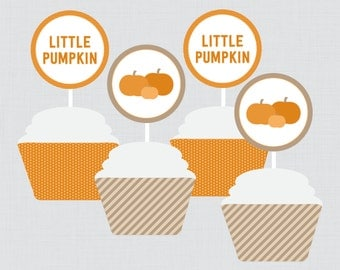 Little Pumpkin Baby Shower Cupcake Toppers and Cupcake Wrappers Printable - Instant Printable Download - Little Pumpkin