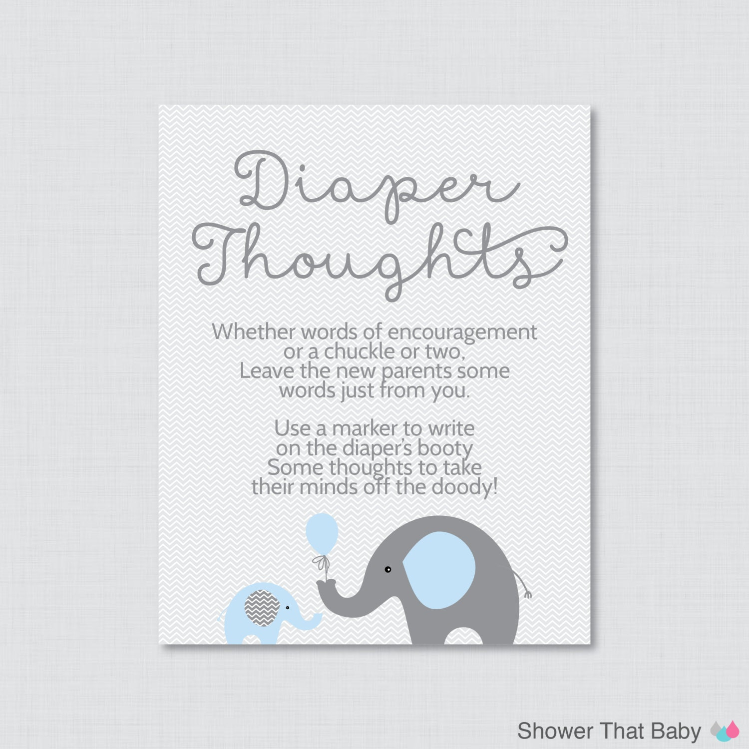 Elephant Baby Shower Diaper Thoughts Game Baby Shower