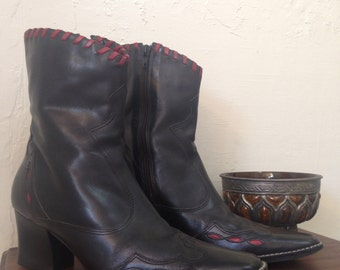 Vintage Brazilian Black & Red Leather LIKE NEW Women's Cowboy Boots