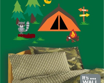 Camping Tent in Forest Vinyl Wall Decal - Boy's Bedroom or Playroom Wall Decal