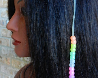 Glow in the Dark Hair Clip with Glow in the Dark Pony Beads (HBL-13)