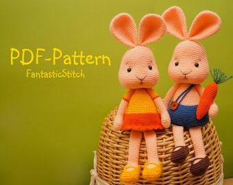 Crochet Pattern Easter Bunny Rabbit Hare Carrot  Amigurumi Tutorial Instant Download PDF 35 Pages