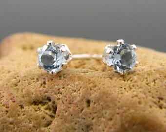 Sky blue topaz earring, blue topaz earings, sky blue topaz studs sterling silver 3 mm
