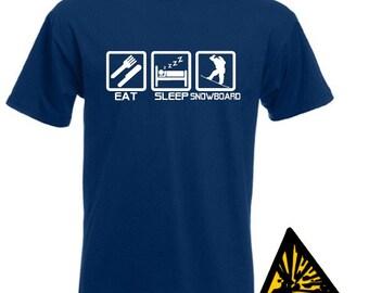 Eat Sleep Snowboard T-Shirt Joke Funny Tshirt Tee Shirt Gift Snowboarder Snowboarding
