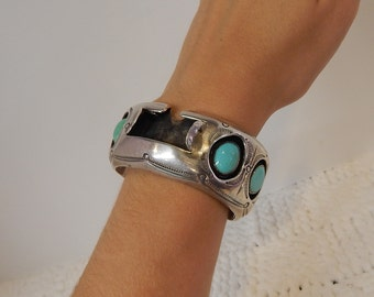 Silver and turquoise watch band, vintage jewelry