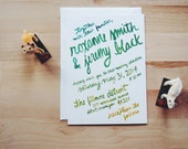 colorful bohemian wedding invitation // THE OMBRE // green yellow ombre hand lettering calligraphy in watercolor // DEPOSIT