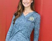 Ego Girl Outfitter Women Long Sleeve Burnout Hoodie T Shirt (Steel Blue), Featuring a Yellow Gold Bass Fish