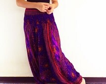 Women Harem Pants Yoga Pants Drop Crotch Aladdin Pants Maxi Pants Boho Pants Gypsy Pants Clothing Jumpsuit Trouser Violet Purple (HP20)
