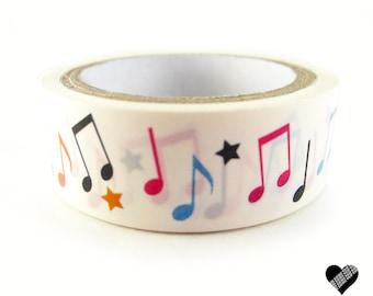 Music Note  Washi Tape // Japanese Washi Tape // Melody Notes Deco Tape // 15 mm Masking Tape // Gift Wrap Tape // Music Scrapbook Tape
