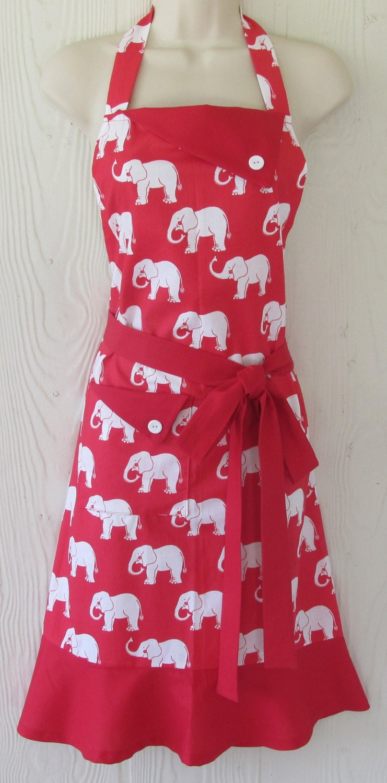 cute elephant apron retro apron womens full apron. Black Bedroom Furniture Sets. Home Design Ideas