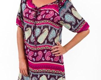 Short Sleeve Rayon Day Dress – Eva Pink Stripe by Spirituelle
