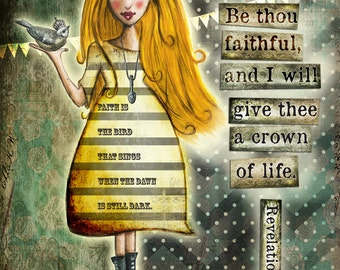 art print, mixed media art, whimsical girl art, christian art, inspirational wall art, inspirational artwork, inspirational print, faith