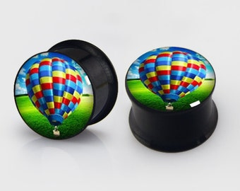Fire Balloon  Earplugs,PAIR Steel Double Flare Tunnels Ear Plugs Earlets Gauges.2pcs with gift box
