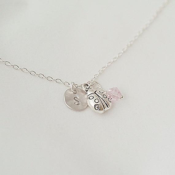 Birthstone Necklace, Personalized Initial Silver Ladybug Nnecklace, Swarovski Crystal Necklace