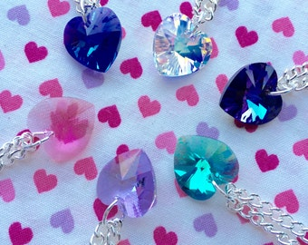 Crystal Heart Necklace- Choose Colour