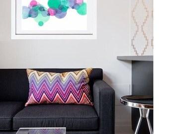 Mint Purple Circles Original Abstract Watercolor Painting Art Print, Home Decor Art, Wall Art, Art with Circles, House Warming Gift