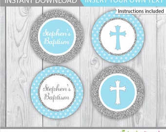 Baptism cupcake toppers / Boy Baptism cupcake toppers / Blue Baptism cupcake toppers / Blue grey cupcake toppers / INSTANT DOWNLOAD