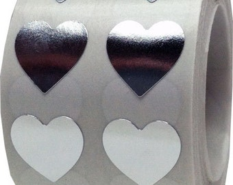 Metallic Silver Heart Shape Stickers | Small Half Inch Adhesive Heart Stickers | 1,000 Labels