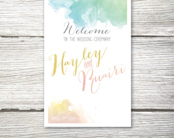 The HAYLEY . Folded Printed Program Card . Wedding Catholic Ceremony Mass Card Christening . Watercolor Calligraphy Blush Teal Beach
