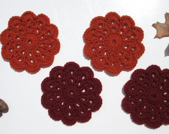 Hand Crocheted Mini Doily Coasters, Set of 4, Persimmon Orange, Carmine Red, Kitchen Breakfast Nook Decor, Dining Table Accent, Shower Gifts