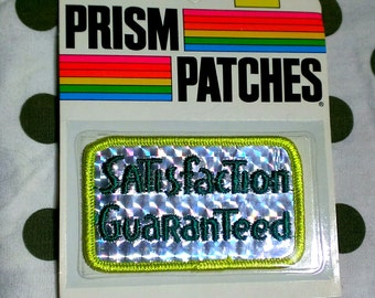 """Vintage 1980's ''Satisfaction Guaranteed"""" Reflective Prism Embroidered Collectible Patch"""