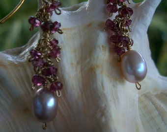 14K Gold Filled Pink Pearl and Pink Tourmaline Earrings