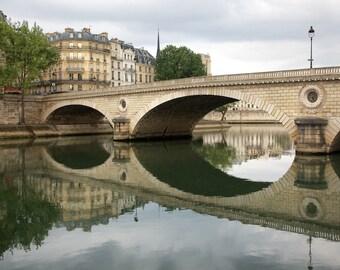 Paris photography, Paris bridge, Seine reflections, Paris architecture, French wall art, Paris decor, home decor, fine art print