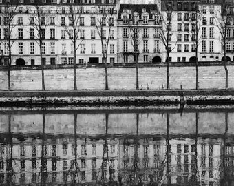 Paris black and white photography, Paris buildings, Paris photography, black and white photo, architecture, Seine reflections, Paris decor