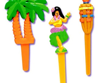 24 Hawaiian Luau Cupcake Picks Cake Toppers Palm Tree Decorations
