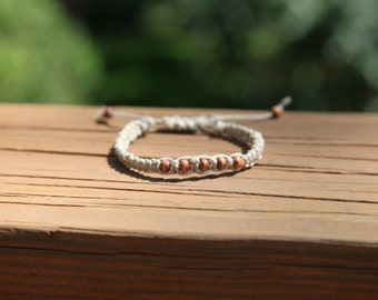 Beaded Adjustable Square Knot and Spiral Knot Hemp Bracelet