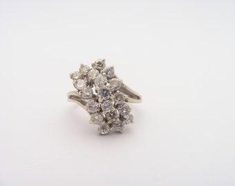 2.00 Carat Total Weight Diamond Cluster Ring. 14K White Gold