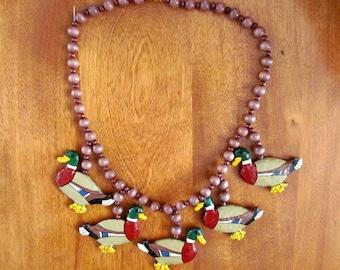 """Handmade/Vintage Papier Mache """"Mallard Duck"""" Necklace"""